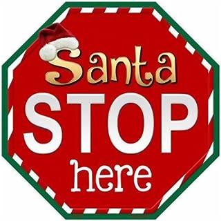 Smart Blonde Santa Stop Here Metal Novelty Stop Sign Bs-391