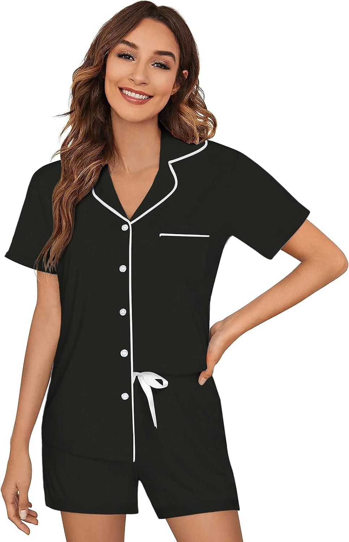gift Ekouaer Sleepwear Womens Pajama Max 83% OFF Set Pjs Sleeve Down Button Short