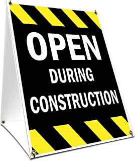 A-Frame Sidewalk Open During Construction Sign with Graphics On Each Side | 18