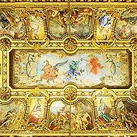 QQYYYT ウォールアートポスター-3D壁画壁紙ヨーロピアンスタイルホテルロビーリビングルーム高級天井壁画アート壁画ポスター壁装飾絵画