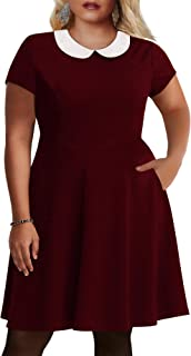 Women's Peter Pan Collar Fit and Flare Plus Size Skater Party Dress