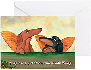 CafePress Dachshund Angels Christmas Cards (20) Greeting Card (20-pack), Note Card with Blank Inside, Birthday Card Glossy