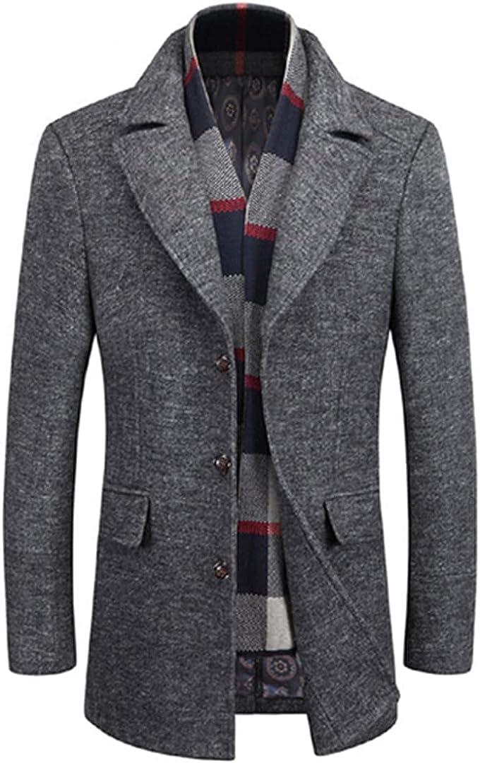 Men Coats Winter Wool Coat Casaco Thick Masculino Sobretudo Mens Overcoat Male Warm Overwear With Scarf