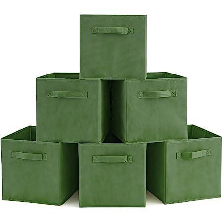 EZOWare Boîtes de Rangement Ouvertes en Textile Non-Tissé, Tiroir en Tissu, Pack de 6, pour Linge, Jouets, Vêtement, Disques DVD etc. - Kale Vert