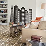 Simple Geometric City Decal City Skyline Silhouette Wall Sticker Wall Mural Vinly Home Art Decoration Black