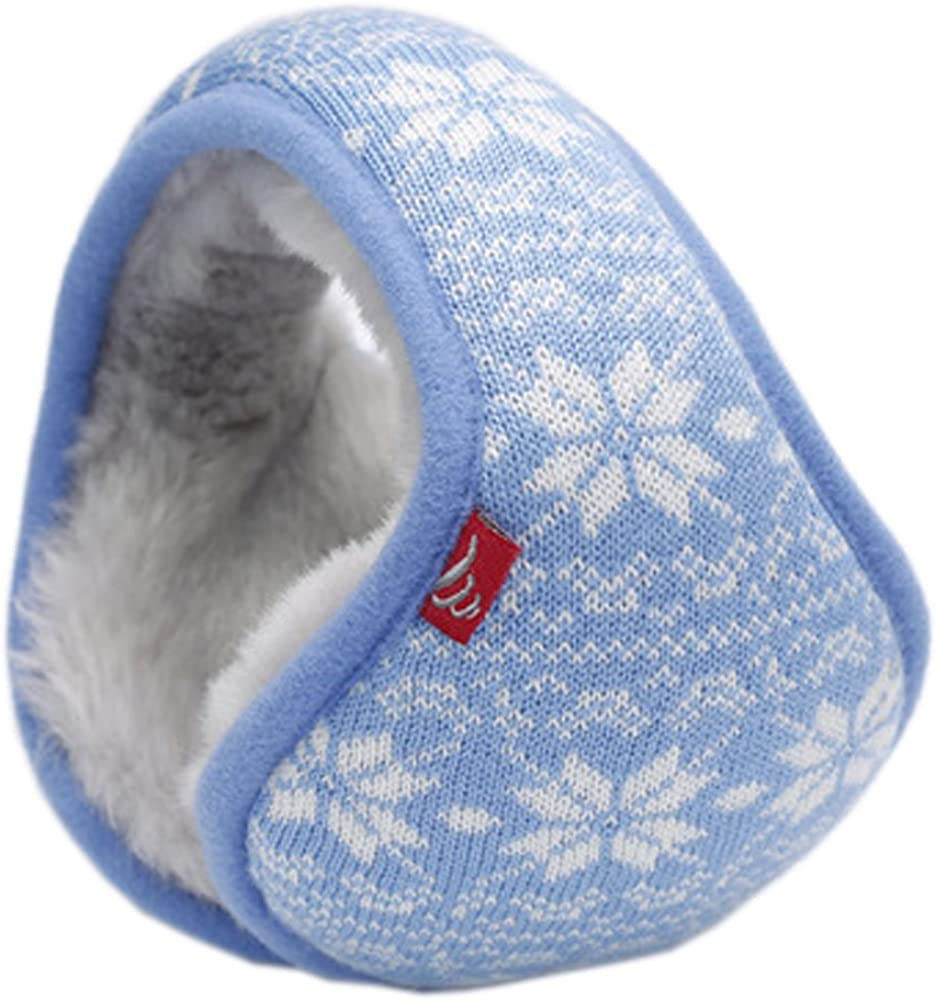 Fashion Snowflake Jacquard Plush Earmuffs Ear Warmers for The Winter(Sky Blue)