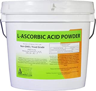 Duda Energy asc8p Pail of L-Ascorbic Acid Powder 99+% Food Grade USP36/BP2012 Naturally Fermented Pure White Crystals Form of Vitamin C, 8 lb.