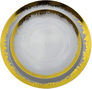 Trendables 60 Pack Combo Plastic Plates Set - 30-10.25 inch. Plastic Dinner Plates & 30-8 inch. Dessert Disposable Plates - Clear Plastic Plates For Parties With A Gold Scratched Design Rim