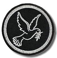 Peace Dove Patch mit weißer Friedenstaube auf schwarzem Grund, 8x8 cm