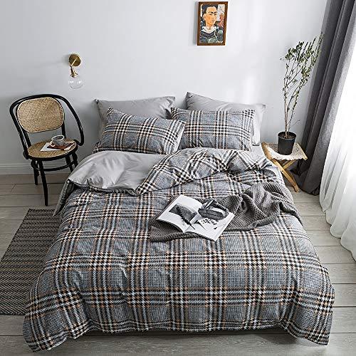 YuanBo Wo Juego de funda de edredón de cuatro piezas, cuadrado, simple impresión activa y teñido, para dormitorio, 2 fundas de almohada