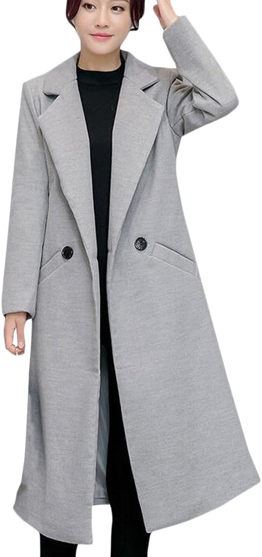 Honey GD Women's Elegant Thicken Winter Wool Blend Midlong Dust Coat