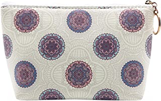 HOYOFO Women's Travel Cosmetic Bags Small PU Makeup Clutch Pouch Toiletries Organizer Bag with Mandala Flower Patterns, Beige
