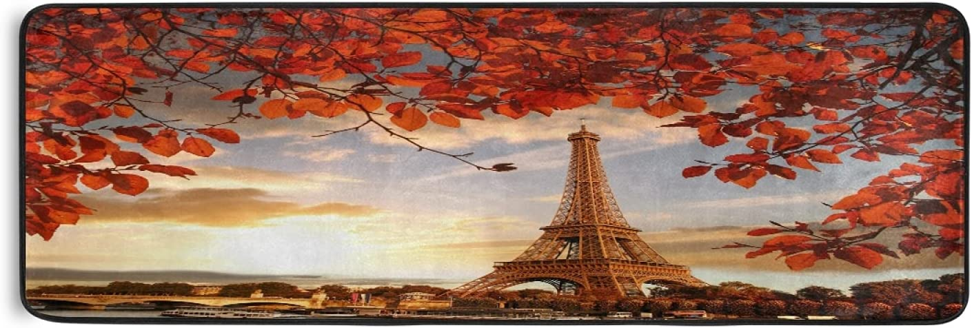 Eiffel Super beauty product restock quality top! Tower Autumn Maple Leaves Runner Rug Fashionable Leaf Paris Fall Kitc