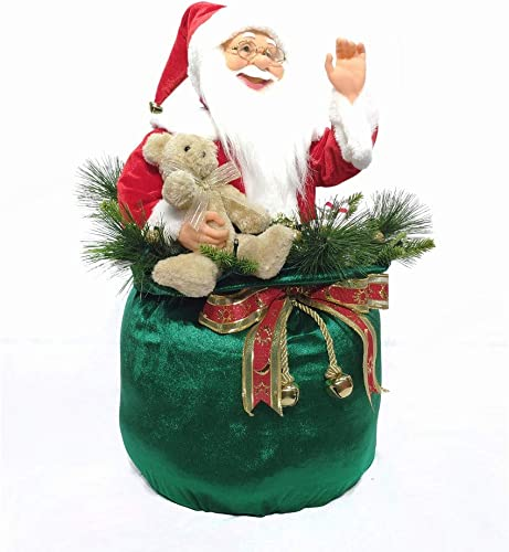 """2021 SkyMall Decorative 23"""" Indoor/Outdoor Classic online Animated Gift online Bag Santa with LED Lights and 8 Christmas Songs outlet online sale"""