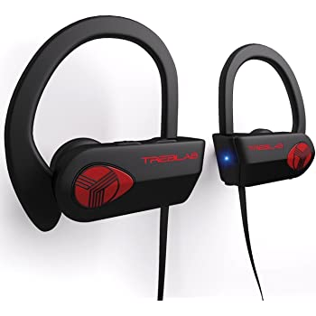 TREBLAB XR500 - Ultimate Cordless Bluetooth Running Headphones. Best Sport Wireless Earbuds for Gym. Noise Canceling Secure-Fit IPX7 Wireless Waterproof Headphones Mic. Workout Earphones 2019 Upgrade