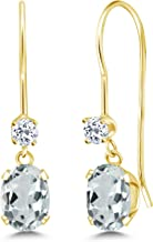 Gem Stone King 1.02 Ct Oval Sky Blue Aquamarine White Topaz 14K Yellow Gold Earrings