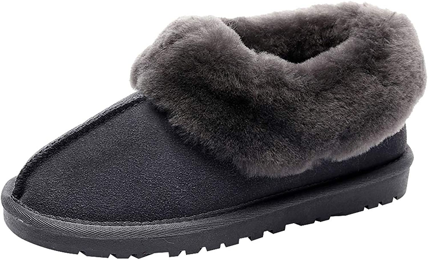 Rismart Women's Low Heel Outer with Thick Fluffy Collar and Lining Antiskid Warm Slippers