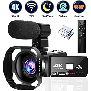 """4K Camcorder Digital Camera Video Camera WiFi Vlogging Camera Camcorders with Microphone Full HD 1080P 30FPS 3"""" HD Touch Screen Vlog Camera for YouTube with IR Night Vision and Remote Control"""