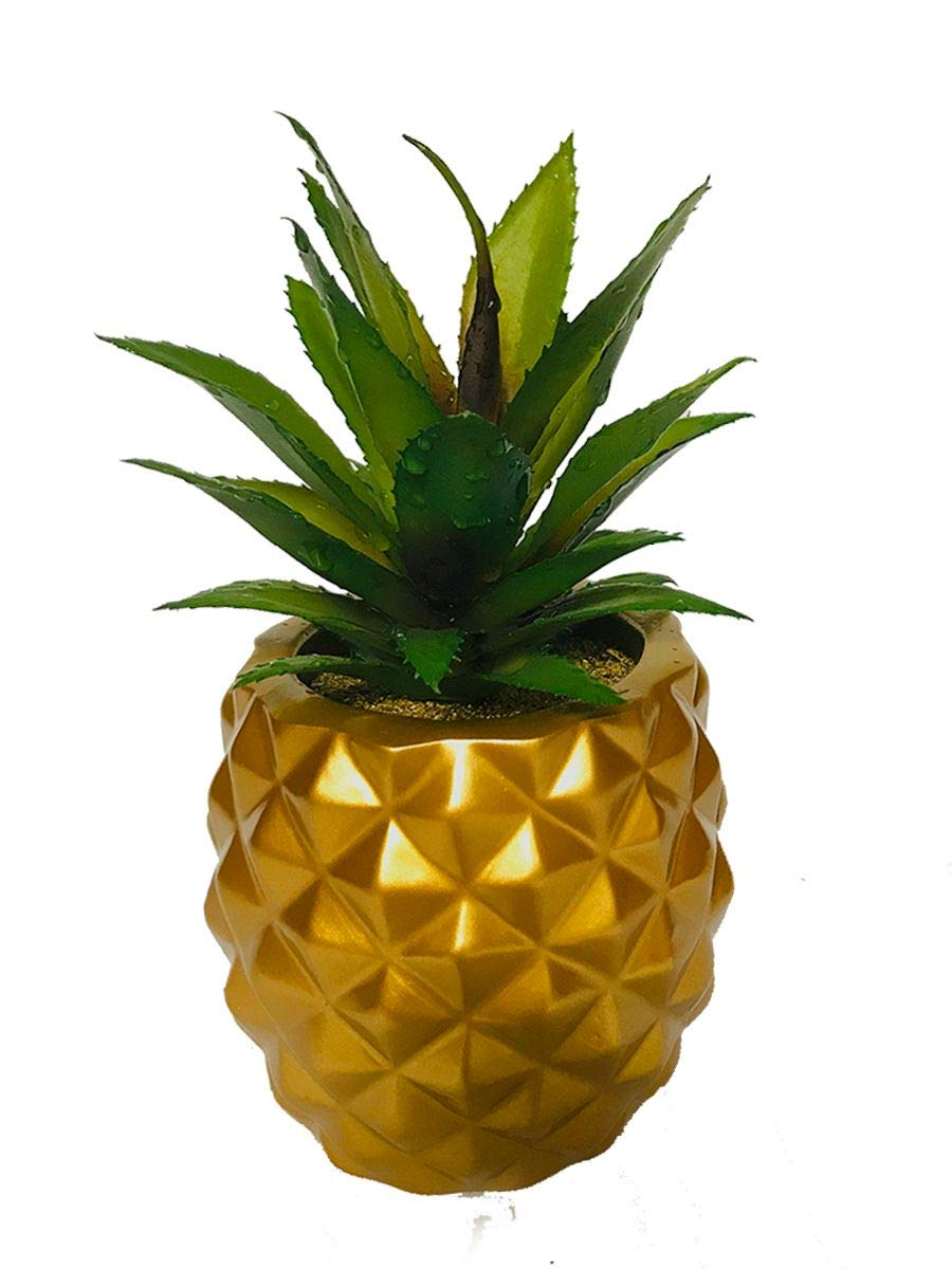 Artificial Succulent Potted Pineapple Decor   Fake Pineapple Home Office  Kitchen Table DecorationGold Small
