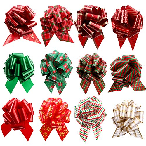 40 x 50mm Large Pull Bows Red Satin Ribbons Wedding Gifts Wrap Car Decorations