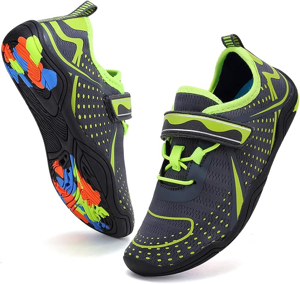 Boys & Girls Water Shoes Lightweight Comfort Sole Easy Walking Athletic Slip on Aqua Sock(Toddler/Little Kid/Big Kid) U120DF2003-Grey.Grn-31