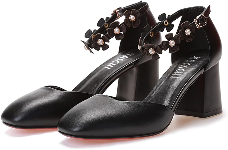 EUDNLMEIM Grobe Leder High High High Heel Sandalen,High Heels in Baotou, Eine Schnalle-Schwarz Fulnge23.3CM(9.2Inch)  48fd32