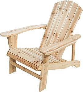 LOKATSE HOME Outdoor Natural Wood Adirondack Folding Classic Chair for Patio