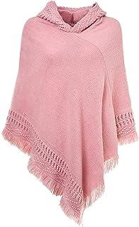 Bienwwow - Poncho da donna con cappuccio e frange, per lavori a maglia