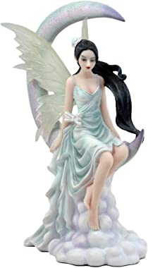 "Ebros Large Celestial Crescent Moon Air Wind Elemental Fairy Statue 10.5"" H by Nene Thomas Decorative Mythical Fantasy Figuri"
