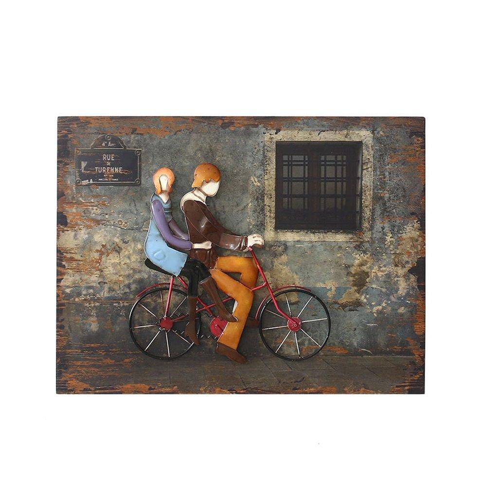 通信網緩めるサドルGAOLILI レトロ3次元鉄の壁の装飾リビングルームバーカフェ衣服の壁の装飾木装飾の絵画 (色 : B)