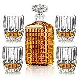 Whiskey Wine Glass 1 Pcs Bottle 17oz + 4 Pcs Whisky Glasses 9.8oz Liquor Decanters Set Engraving Carafe for Bourbon Father's Day Gift