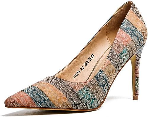 zapatos de mujer con Punta de tacón Alto, de Color Europeo y Americano, con Boca Baja, Color a Juego, zapatos de mujer Salvajes (Color  naranja, tamaño  4.0 Reino Unido)