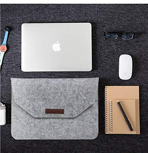 Macbook 11-13 inch laptop Flip Case van Wolvilt - Universeel laptoptas Grijs