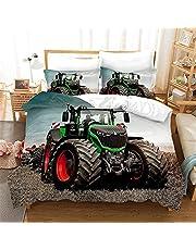 GDGM Ergouzi Tractor-beddengoed, 135 x 200 cm, voor jongens   tractor & maaidorser design kinderbeddengoed, kussensloop dekbedovertrekken met ritssluiting, 2-delig