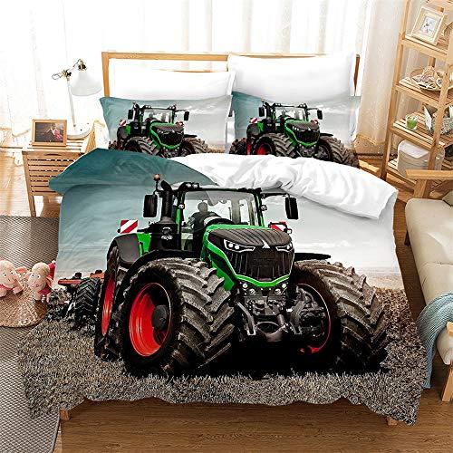GDGM Traktoren Bettwäsche 135x200 Jungen   Traktor & Mähdrescher Design Kinderbettwäsche,Kissenbezug Bettbezüge Mit Reißverschluss, 2 Teilig (A03,155x220cm+80x80cmx2)