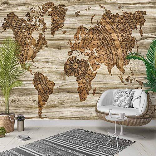 Eigene 4D Wandbild Große Wallpaper,Braun Vintage Holz Erde Weltkarte,Moderne Hd Seide Wandmalerei Poster Bild Fernseher Sofa Hintergrund Wand Dekoration Für Wohnzimmer, 250 Cm (W) X 160 Cm (H) | 8