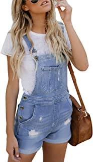 Sidefeel Women Shortalls Jumpsuit Denim Bid Pockets Ripped Short Overall
