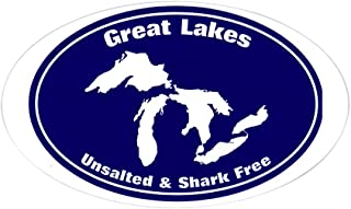 CafePress Great Lakes Shark Free Oval Bumper Sticker, Euro Oval Car Decal