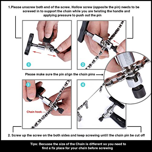 Tagvo 2-in-1-Bike Kette Werkzeug + Kette Checker, Universal Fahrrad Kette Repair Tool mit Kette Verschleißindikator Werkzeug - 7