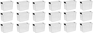STERILITE 19859806, 30 Quart/28 Liter Ultra Latch Box, Clear with a White Lid and Black Latches (30 Quart, 18-Containers)