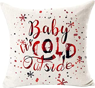 Andreannie Baby It's Cold Outside Snowflake Red Merry Christmas Cotton Linen Decorative Throw Pillow Case Cushion Cover Sq...