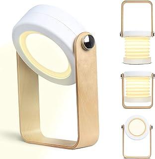 Kakanuo - Lámpara de mesa con forma de farol, lámpara de cama de forma variable, interruptor táctil, carga USB, lámpara de mesa con tres secciones, regulable para leer, camping, luz nocturna