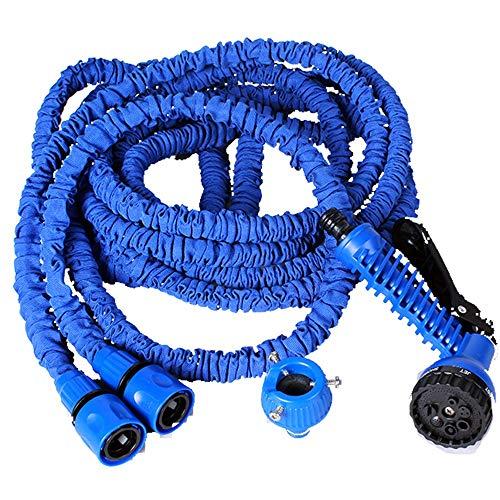 Pistolet de laveuse à Pression 3 Fois Tuyau Naturel télescopique Eau Jardin Tuyau Voiture Lavage Tuyau Gun Nettoyeur Haute Pression (Couleur : Bleu, Size : 50ft)