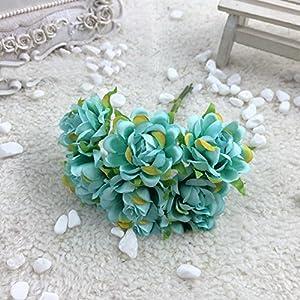 narutosak Artificial Flowers 6Pcs Silk Fake Flowers Floral Wedding Bouquet Party Home Decoration – Water Blue