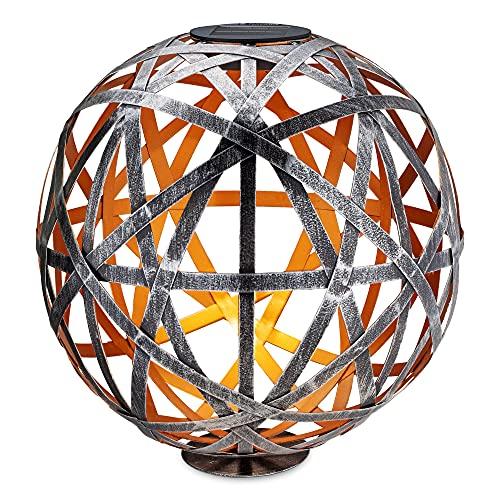 Navaris Farol Solar de jardín - Bola de jardín para Exteriores de 30 CM con luz LED cálida y Encendido automático - Esfera Color Plata Envejecida
