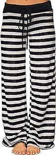 Women's Pajama Lounge Pants Floral Striped Polka Dot Print Comfy Casual Stretch Palazzo Bottoms Pants Wide Leg