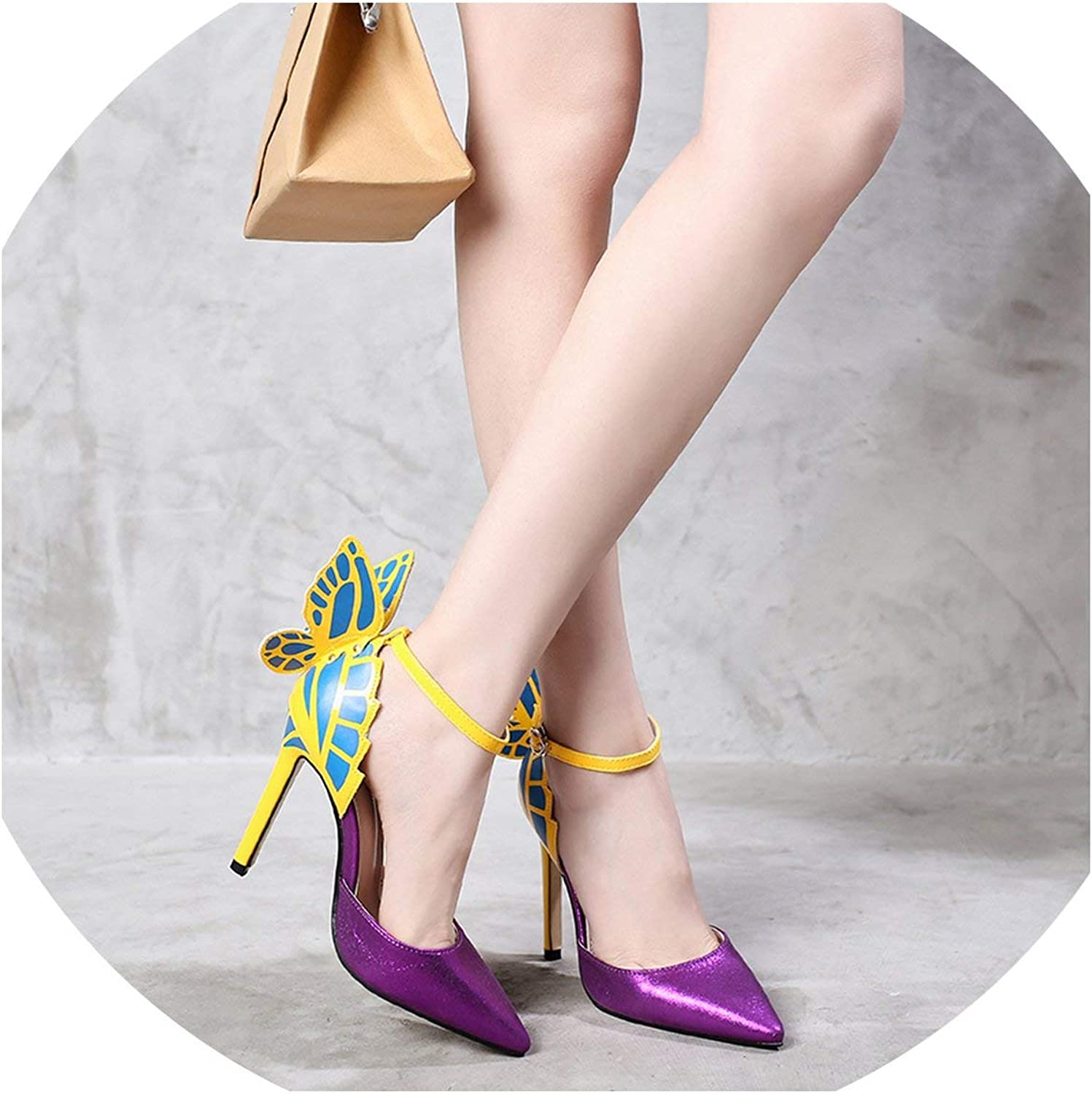Coolemon Women Dream Butterfly Pointed Toe High Heels shoes Woman Pumps Fashion Female Ankle Strap Dress Party Wedding shoes