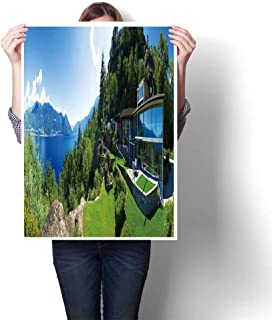 Wall Art Painting Colorful Panoramic Villa in Front Lake Oil Painting,32