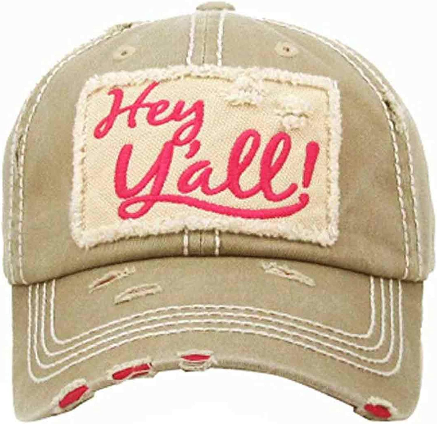 Kbethos Trading Women's Hey Y'all Southern Vintage Patch Baseball Hat Cap (Khaki)