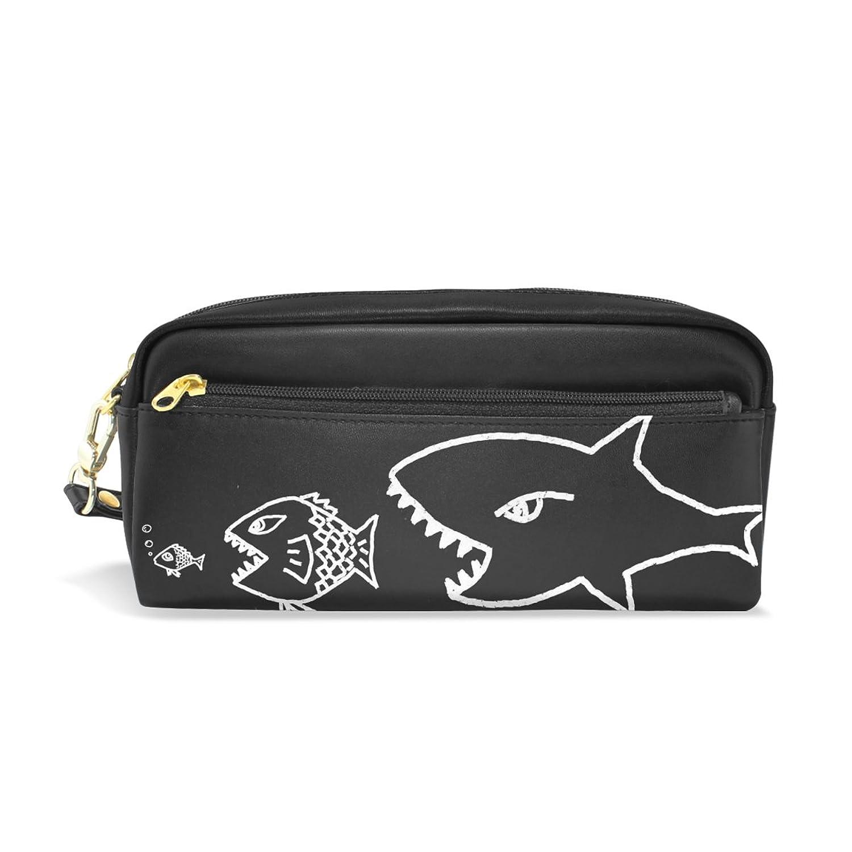 AOMOKI ペンケース 化粧ポーチ 小物入り 多機能バッグ レディース シャック 魚